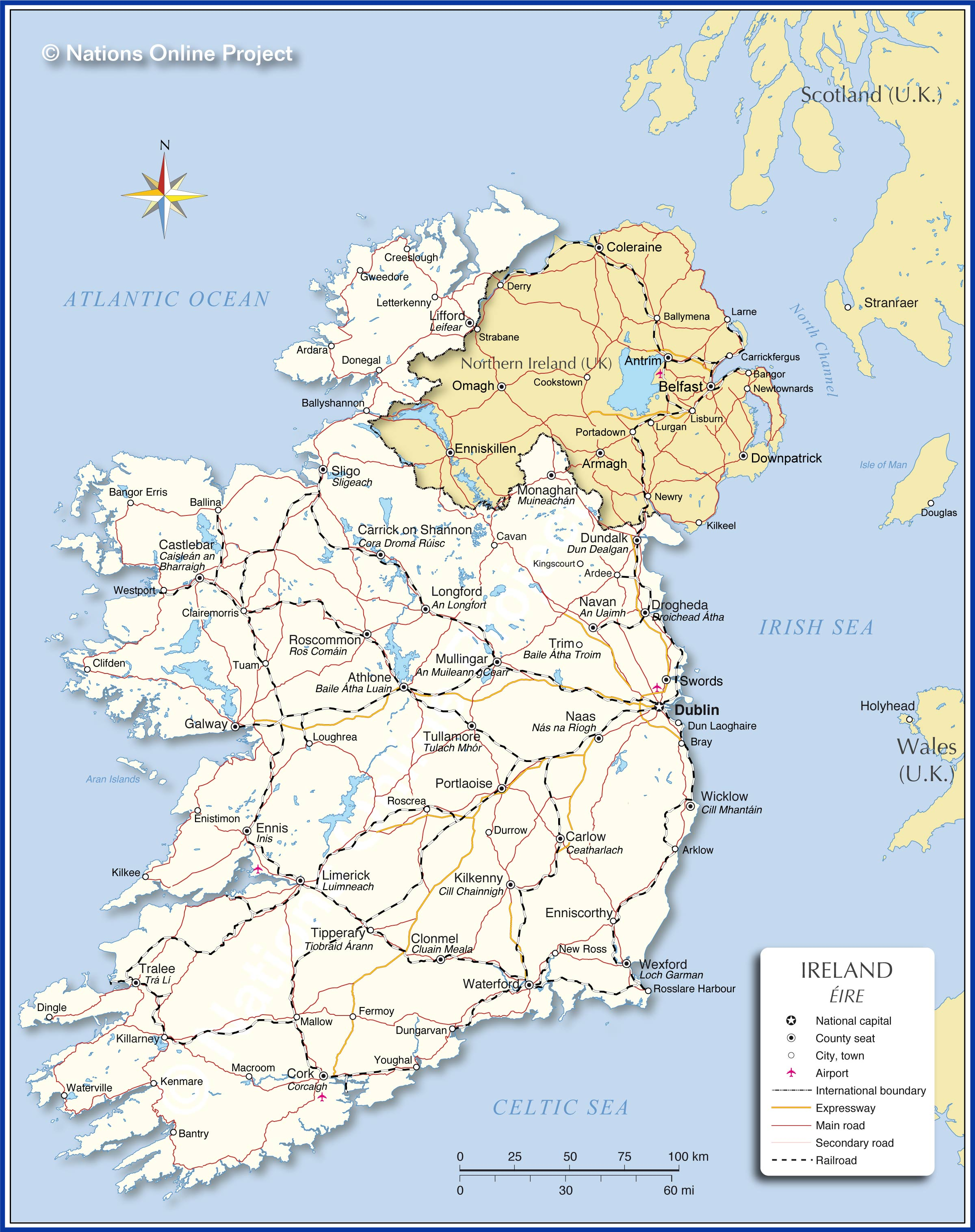 Map Of Ireland Showing Athlone.Political Map Of Ireland Nations Online Project