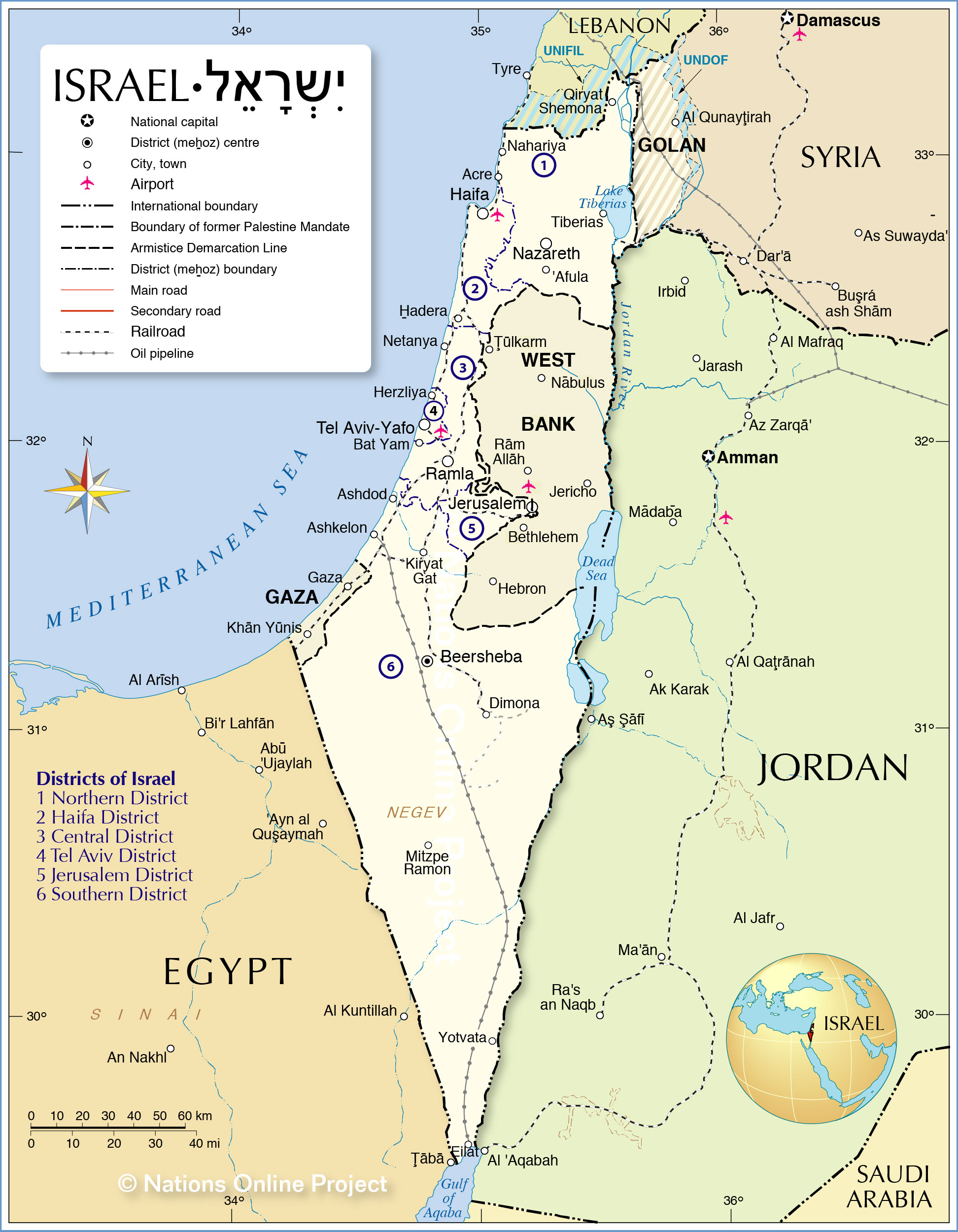 Israel On A Map Political Map of Israel   Nations Online Project
