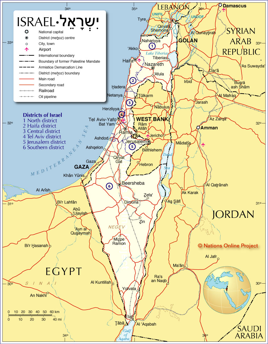 Political Map Of Israel Nations Online Project - Isreal map