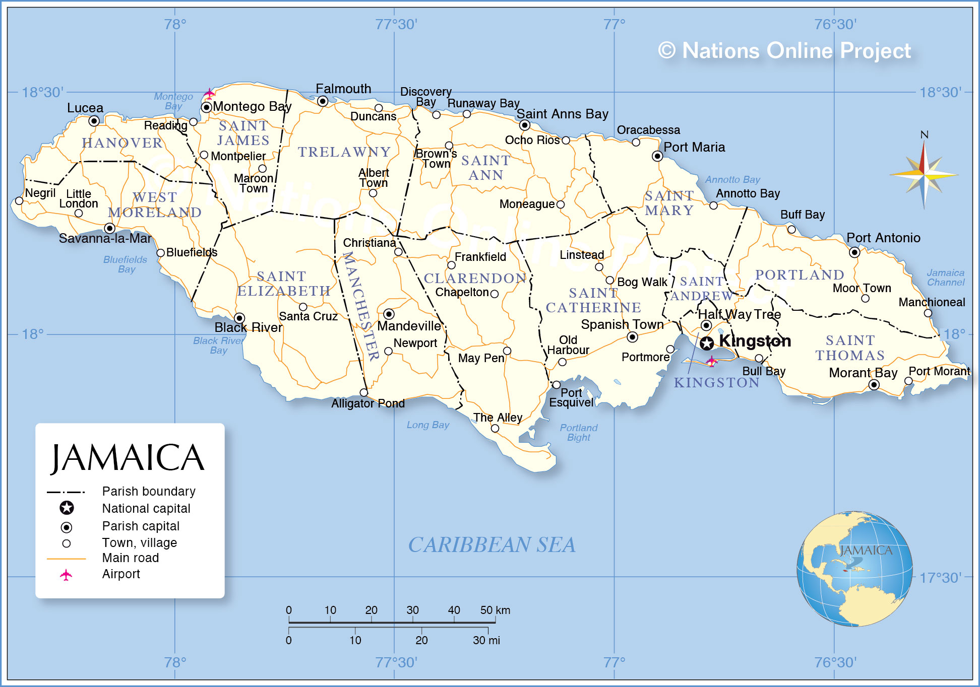 administrative map of jamaica. administrative map of jamaica  nations online project