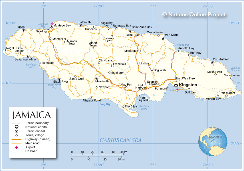 Political Map Of Jamaica Nations Online Project - Jamaica map