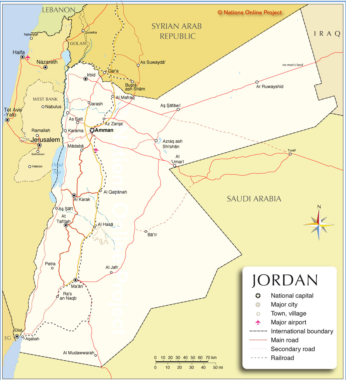 Political Map Of Jordan Nations Online Project - World map jordan river