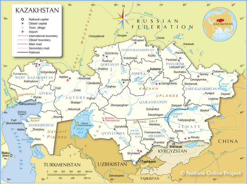 Administrative Map of Kazakhstan  Nations Online Project