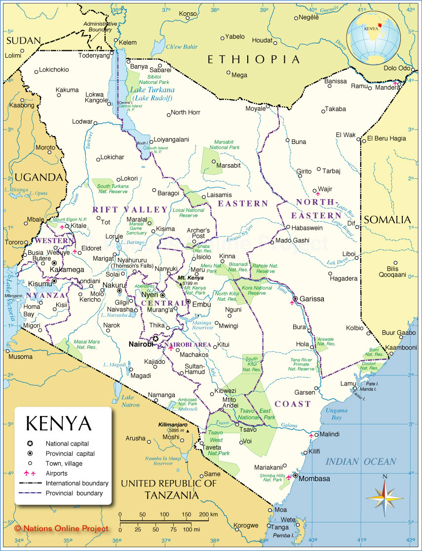Administrative Map of Kenya - Nations Online Project
