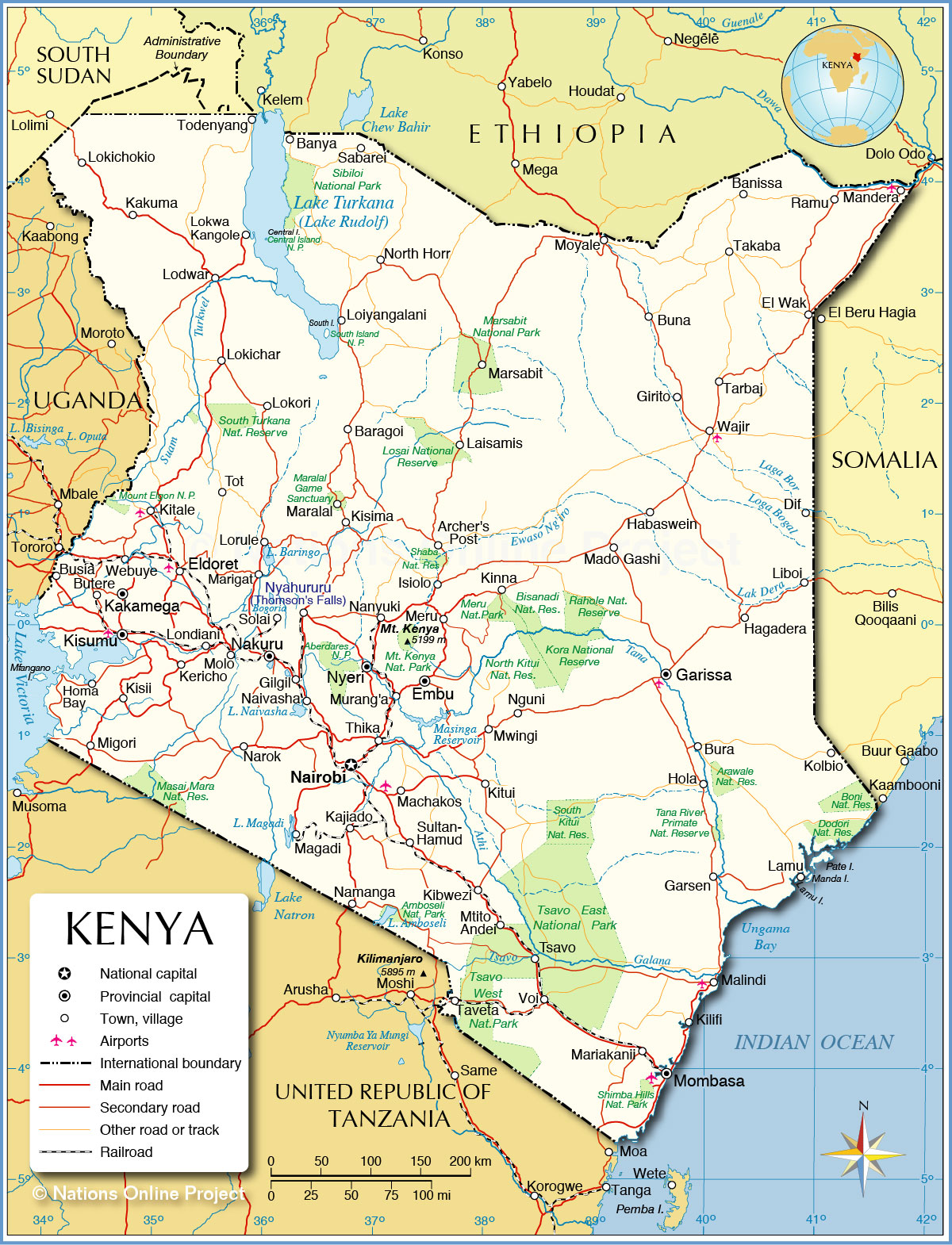 Map of Kenya showing location of Makueni County | Download ...