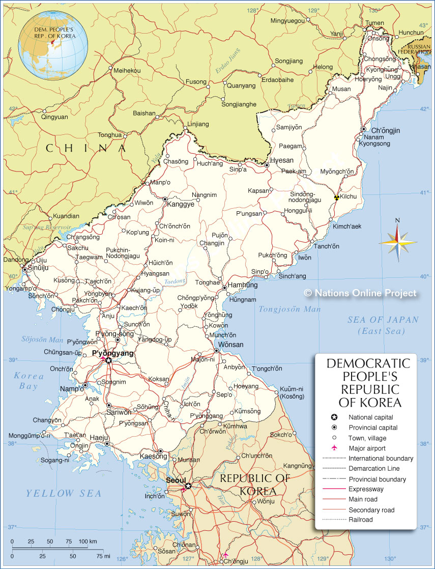 Political Map of North Korea  Nations Online Project