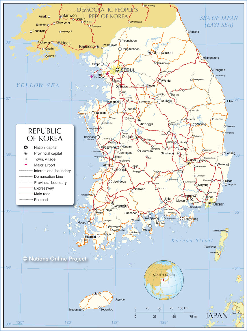 Map Of South Korea Political Map of the Republic of Korea (South Korea)   Nations  Map Of South Korea