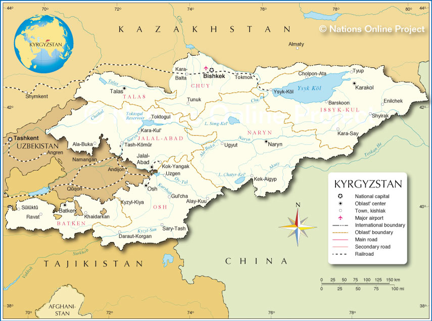 Administrative Map of Kyrgyzstan  Nations Online Project
