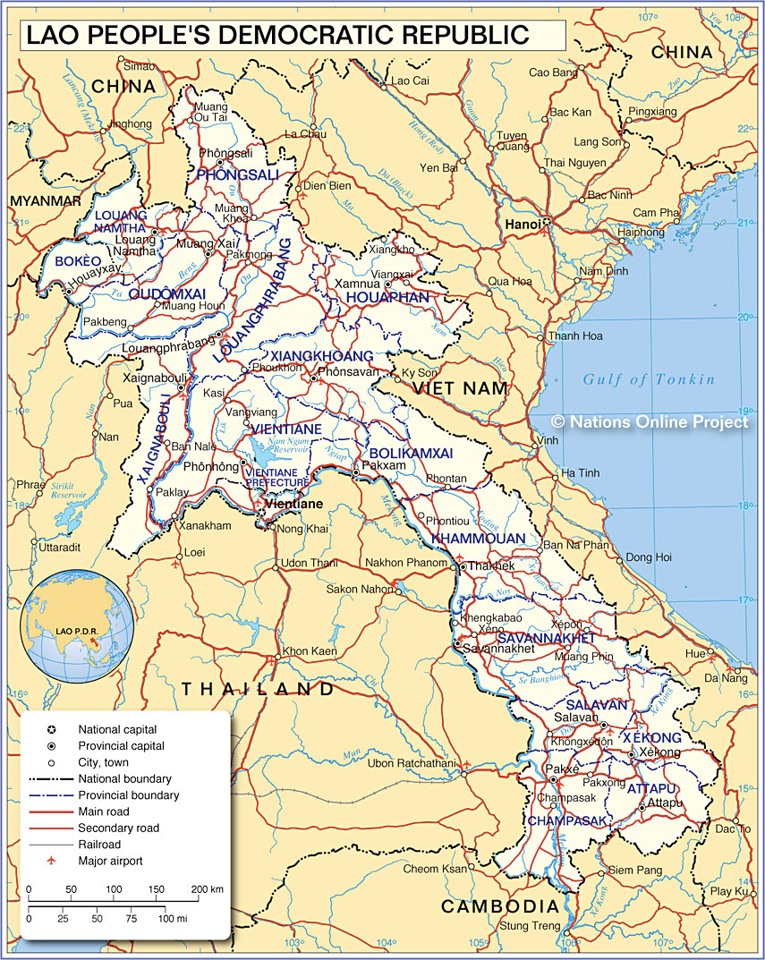 Map Of Laos Map of Laos   Nations Online Project Map Of Laos