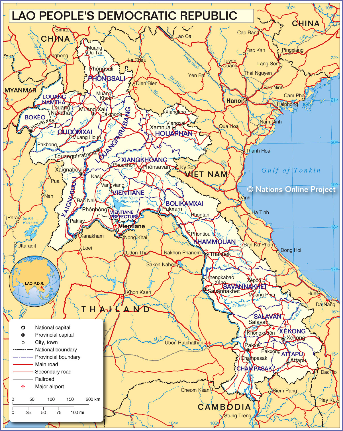 Map Of Laos Political Map of Laos   Nations Online Project Map Of Laos