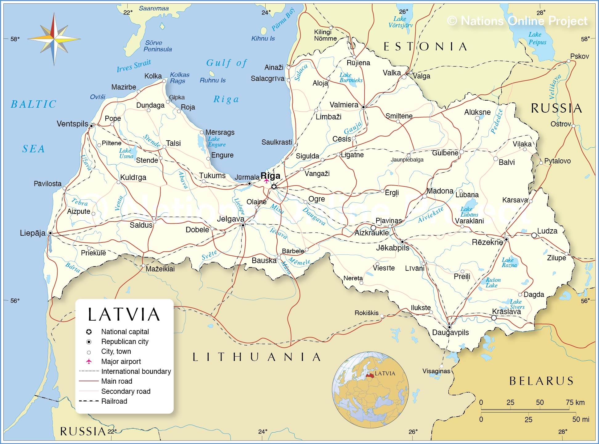 Political Map of Latvia Nations Online Project
