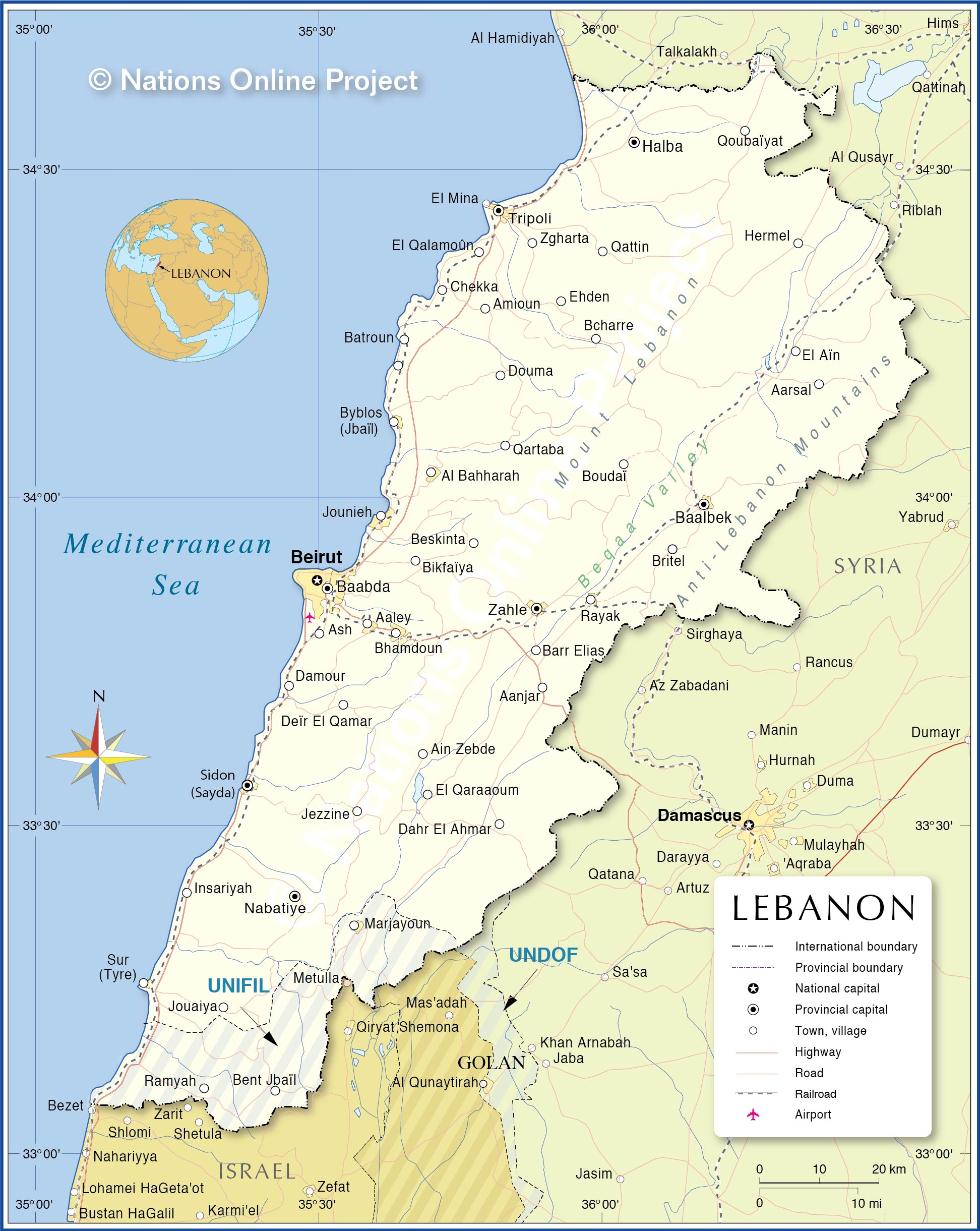 political map of lebanon nations online project