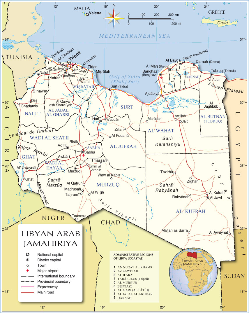 Administrative Map of Libya - Nations Online Project