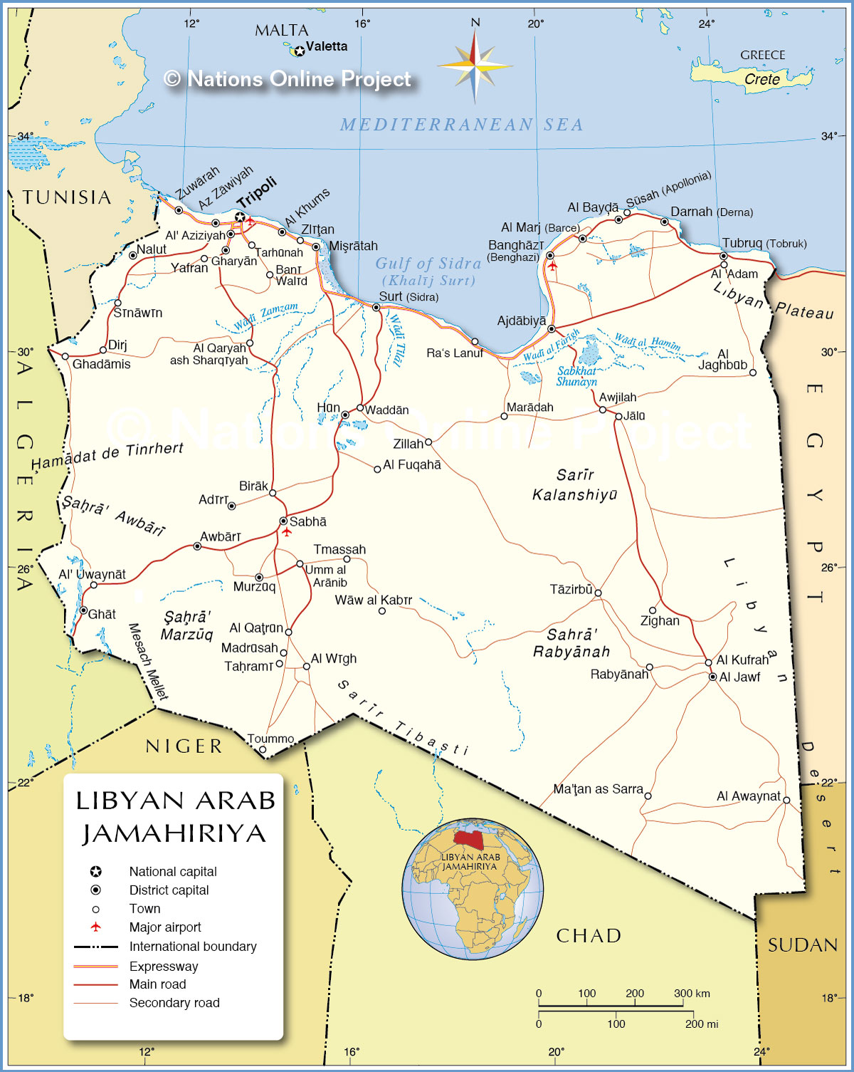 Political Map of Libya 1200 pixel Nations Online Project