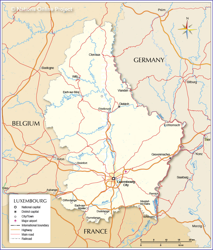 Map of Luxembourg Nations Online Project