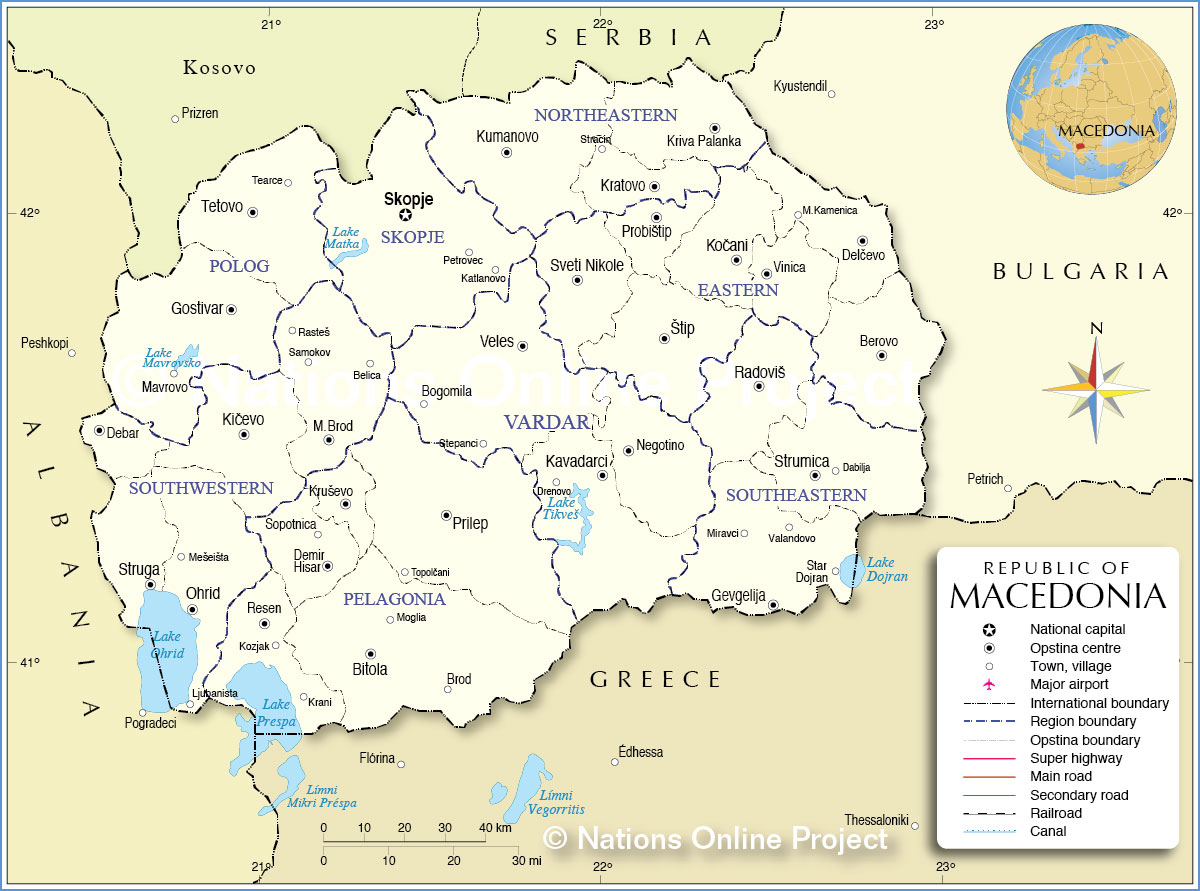Administrative Map Of Macedonia Nations Online Project