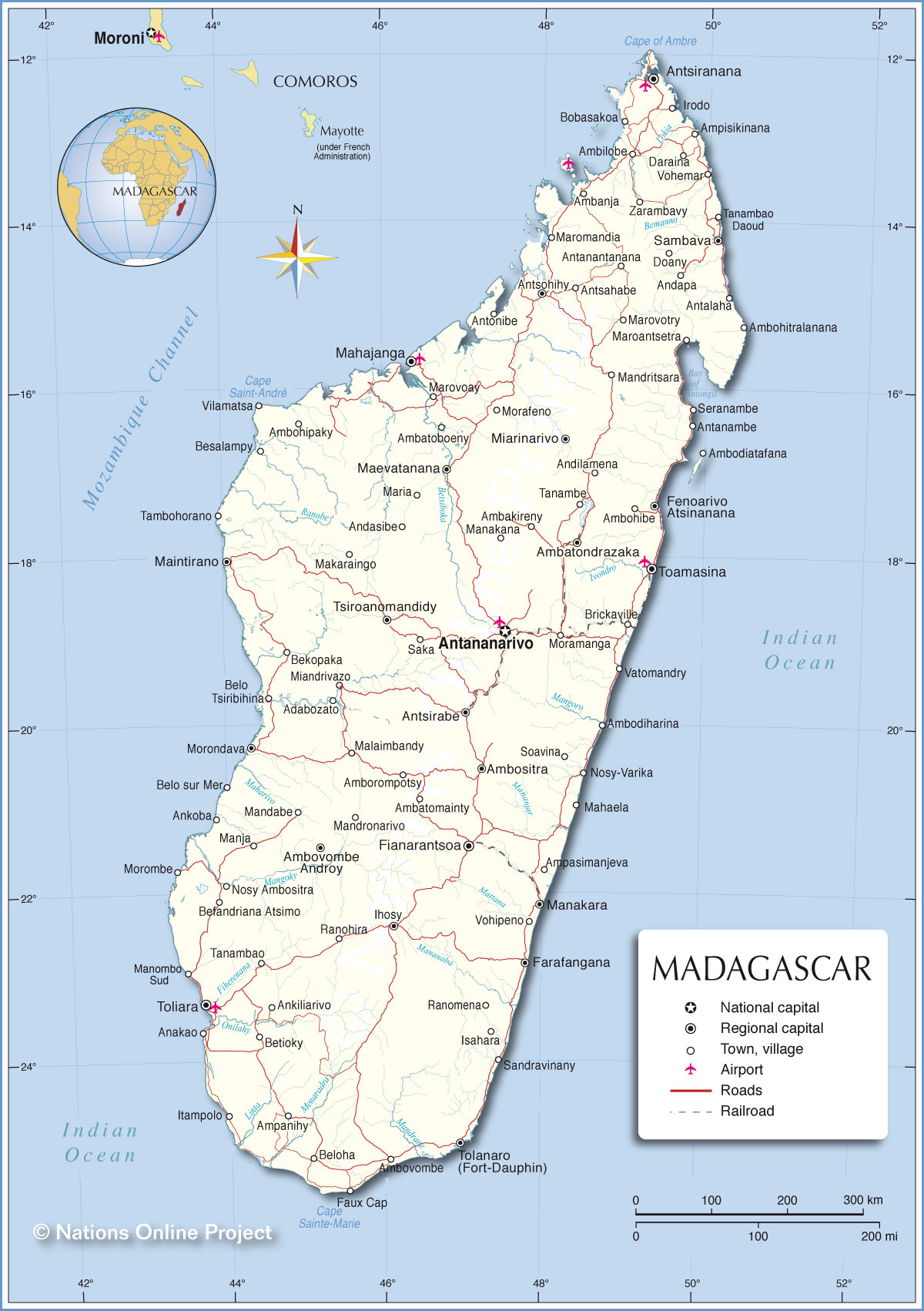 Map Of Madagascar Political Map of Madagascar   Nations Online Project Map Of Madagascar