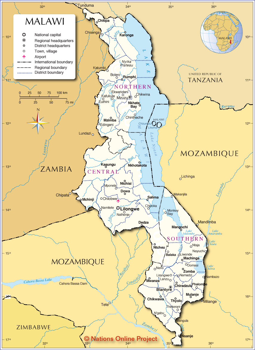 Map Of Malawi Administrative Map of Malawi   Nations Online Project