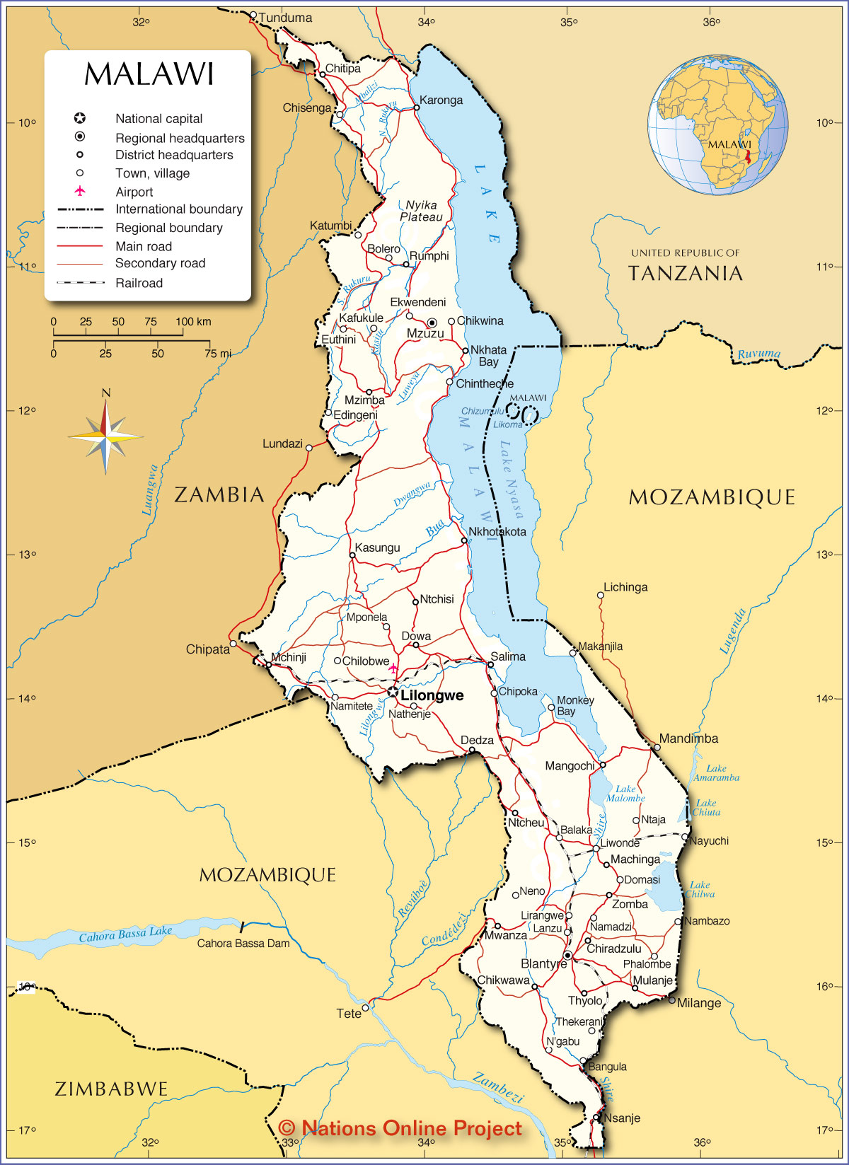 Map Of Malawi Political Map of Malawi   Nations Online Project
