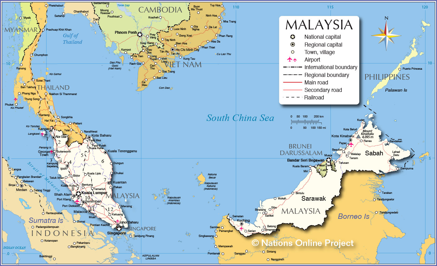 Political Map of Malaysia - Nations Online Project