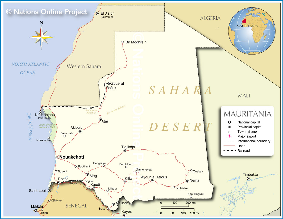 Map of Mauritania Nations Online Project