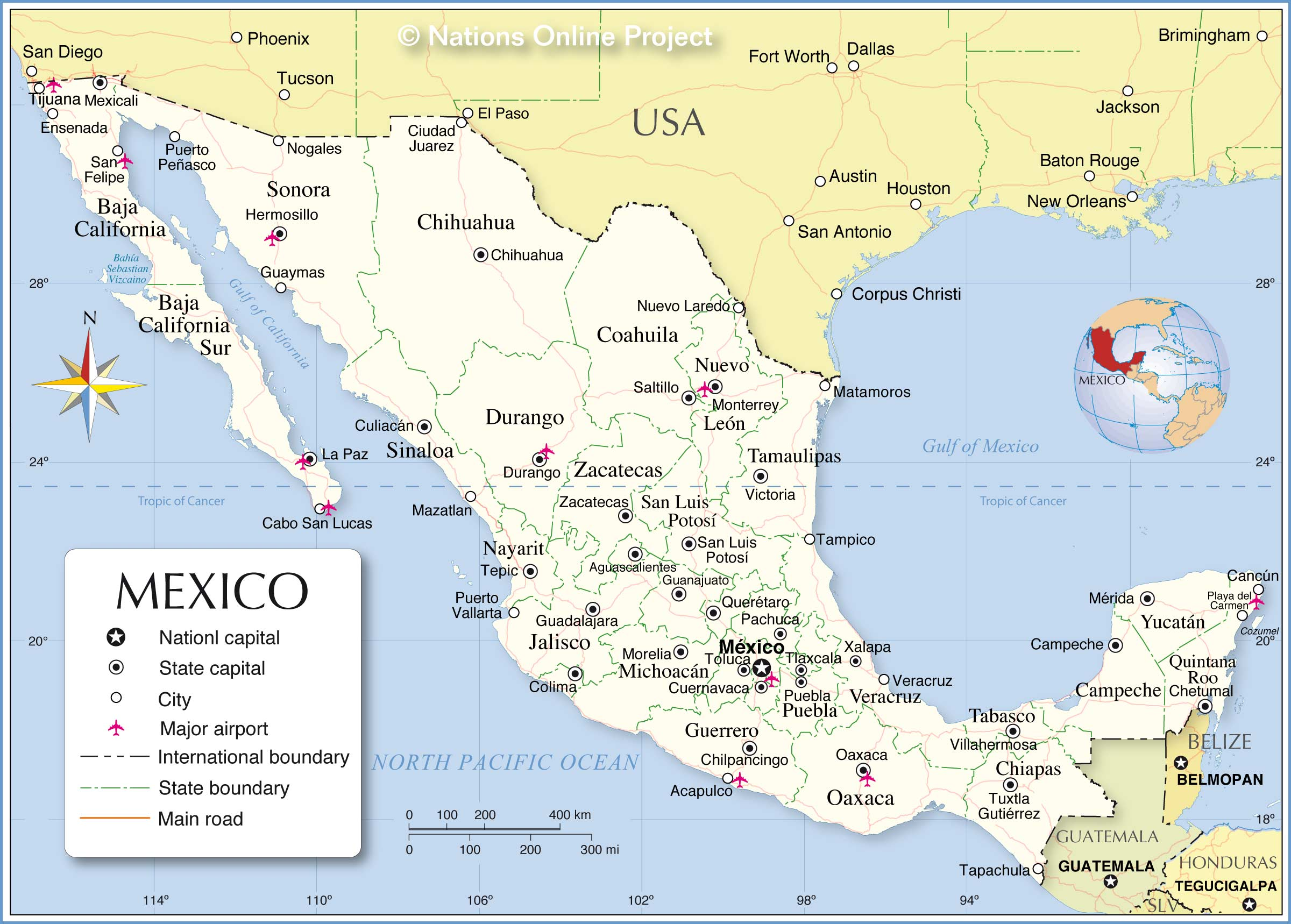 Administrative Map Of Mexico Nations Online Project - Map of usa with states and capitals and major cities