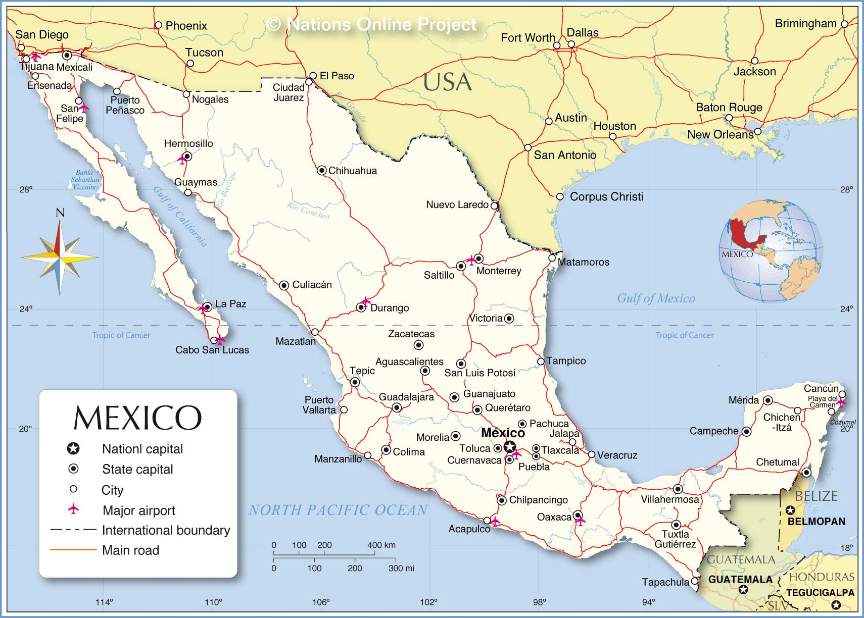 Mexico Political Map Political Map of Mexico   Nations Online Project