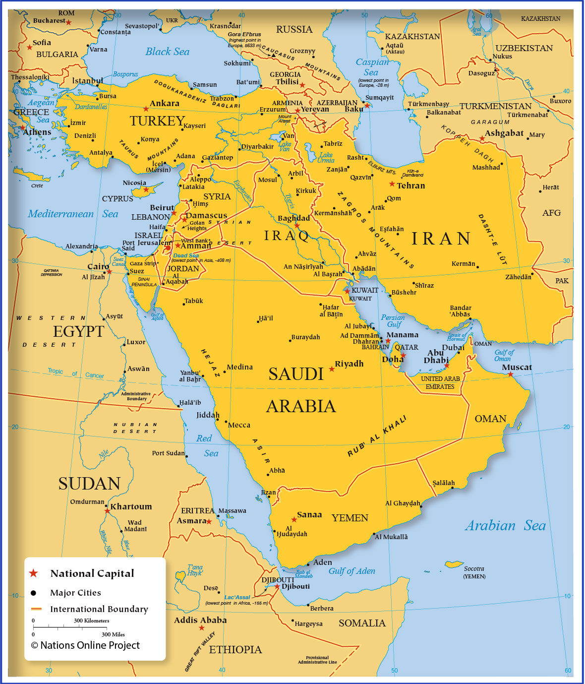 Image of: Map Of Western Asia And The Middle East Nations Online Project
