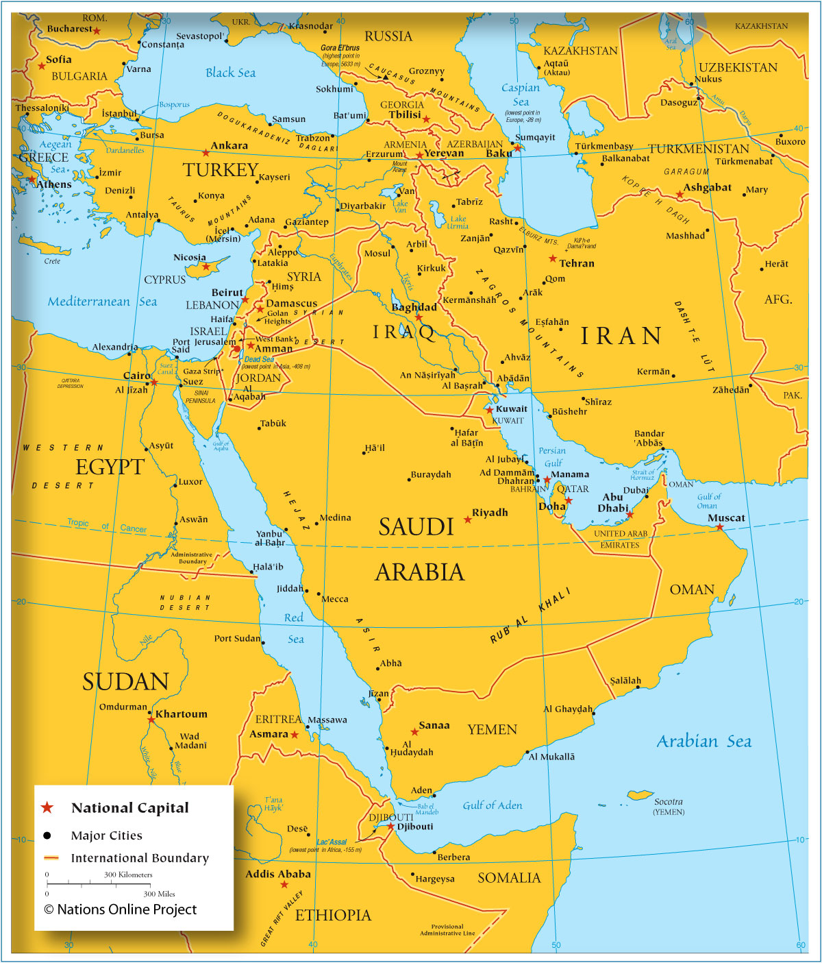 map showing the countries of western asia the middle east and adjacent countries with borders capitals and main cities