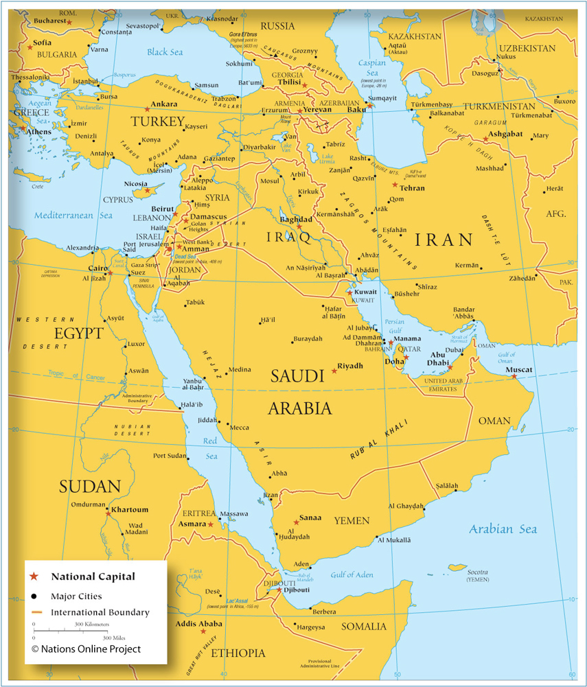 Map of South Western Asia and the Middle East 800px - Nations Online ...