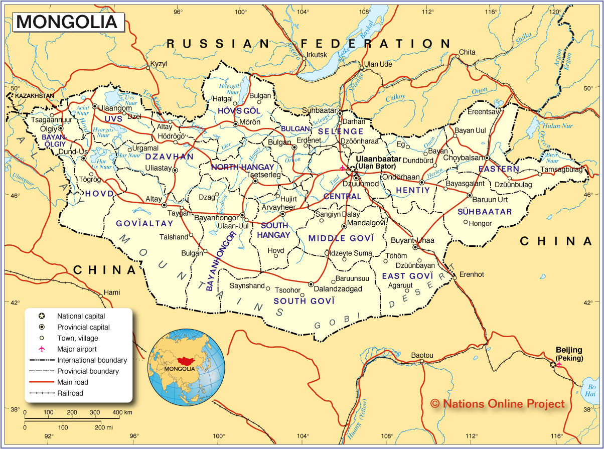 Political Map of Mongolia Nations Online Project