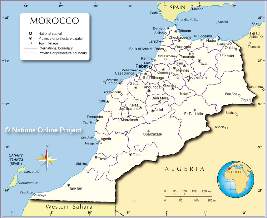 Administrative Map of Morocco Nations Online Project