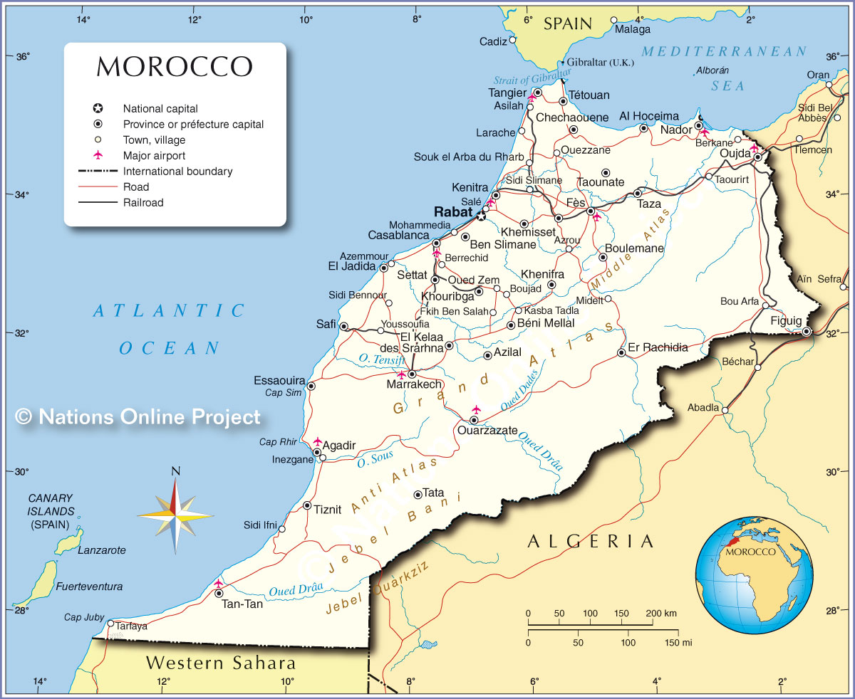 Political Map of Morocco Nations line Project