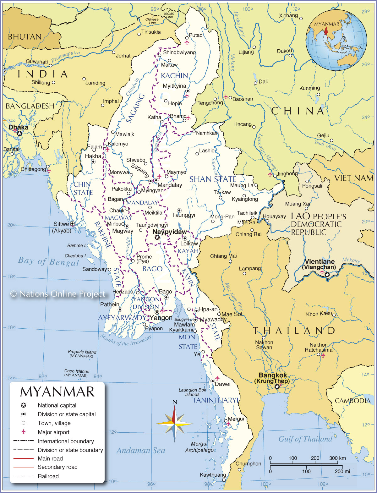 Administrative Map Of Myanmar Burma Nations Online Project