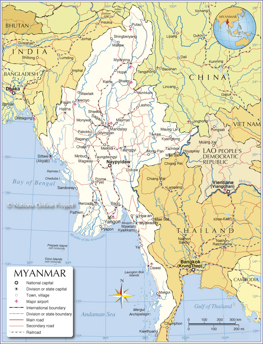 Small Map of Myanmar - Burma - Nations Online Project