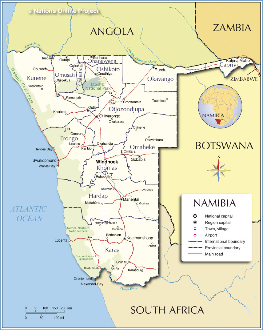 Administrative Map of Namibia Nations Online Project