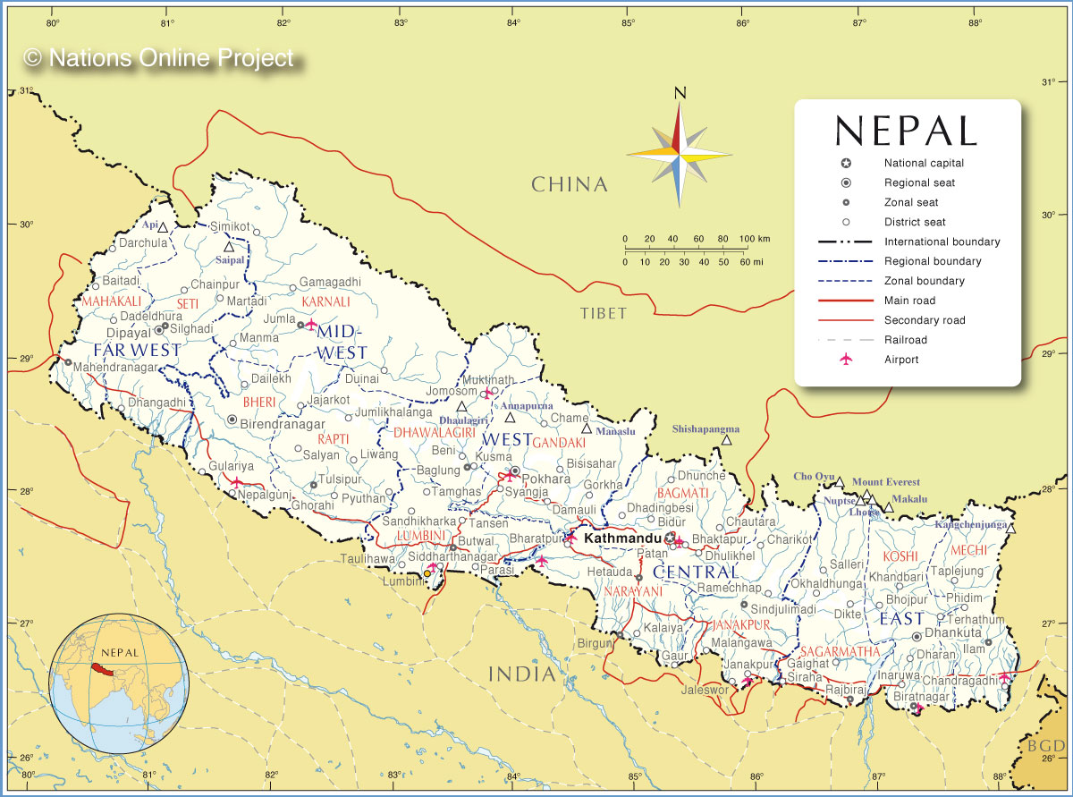 Administrative map of nepal nations online project map of nepal sciox Gallery