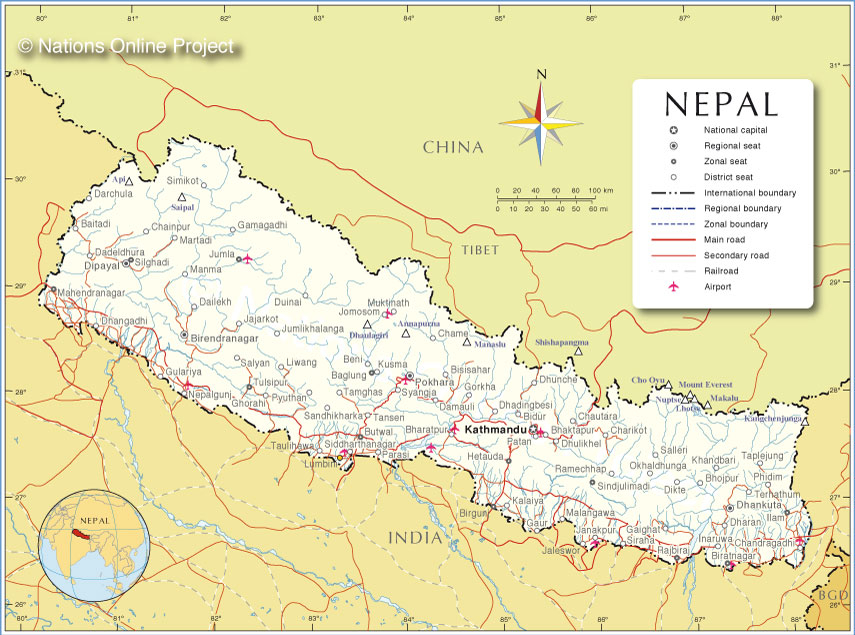 Political Map of Nepal - Nations Online Project