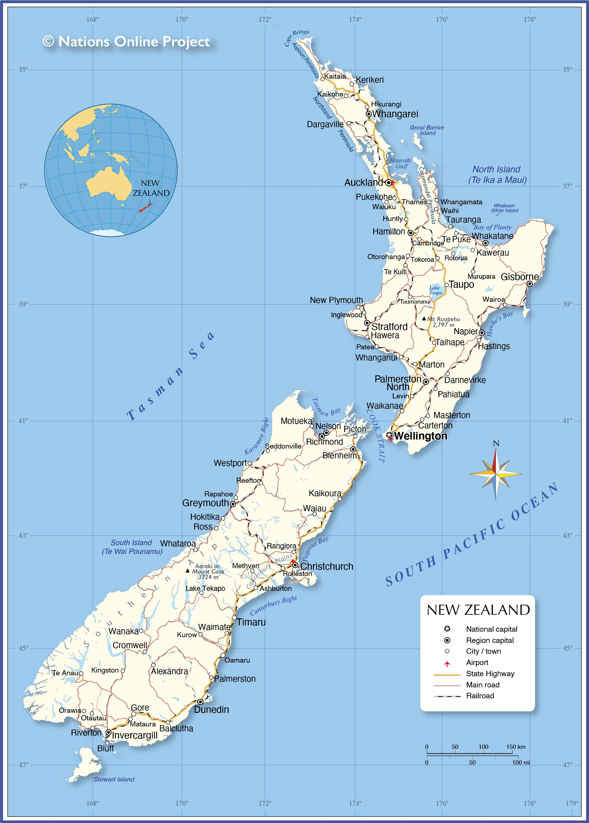 new zealand lakes map Political Map Of New Zealand Nations Online Project new zealand lakes map