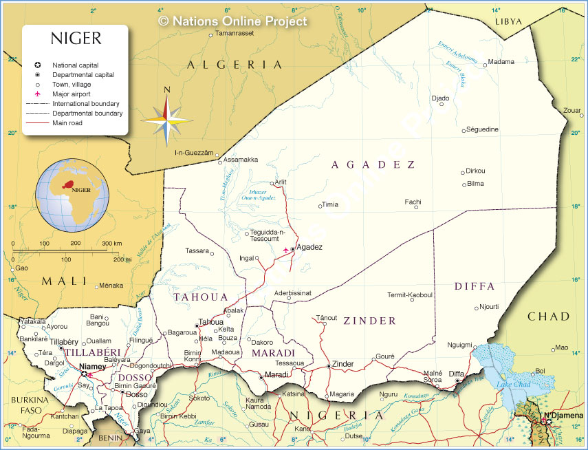 Administrative Map of Niger Nations Online Project