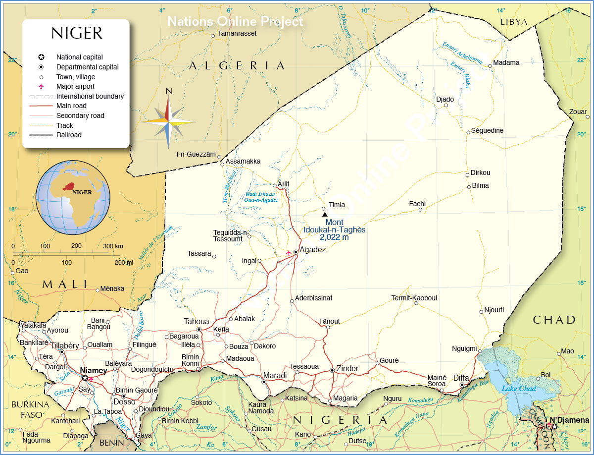 Political Map Of Niger Nations Online Project - Southern us map with cities