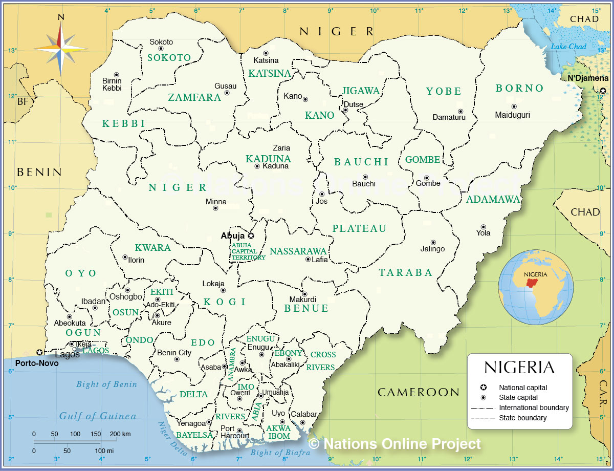 Administrative Map Of Nigeria Nations Online Project - Nigeria map