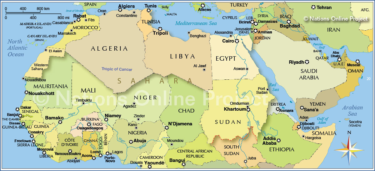 Political Map Of Northern Africa And The Middle East Nations - Tunisia country political map