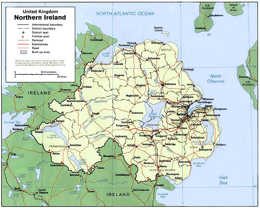 Small Map Of Ireland.Small Map Of Northern Ireland Nations Online Project