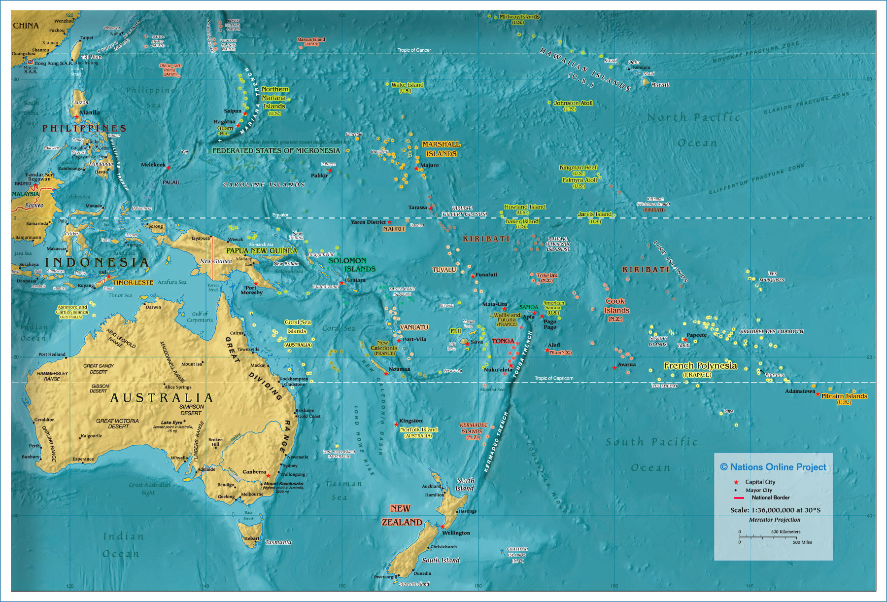 Political Map Of OceaniaAustralia Px Nations Online Project - Physical map of oceania