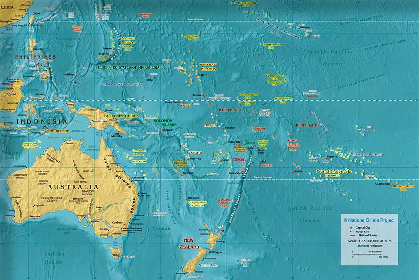 Small Map of Oceania/Australia (600 px) - Nations Online Project