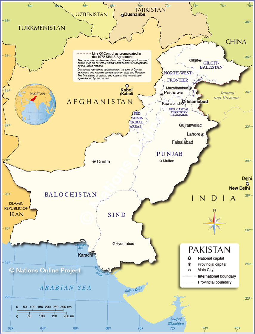 Political Map Of Pakistan Administrative Map of Pakistan (Islamic Republic of Pakistan