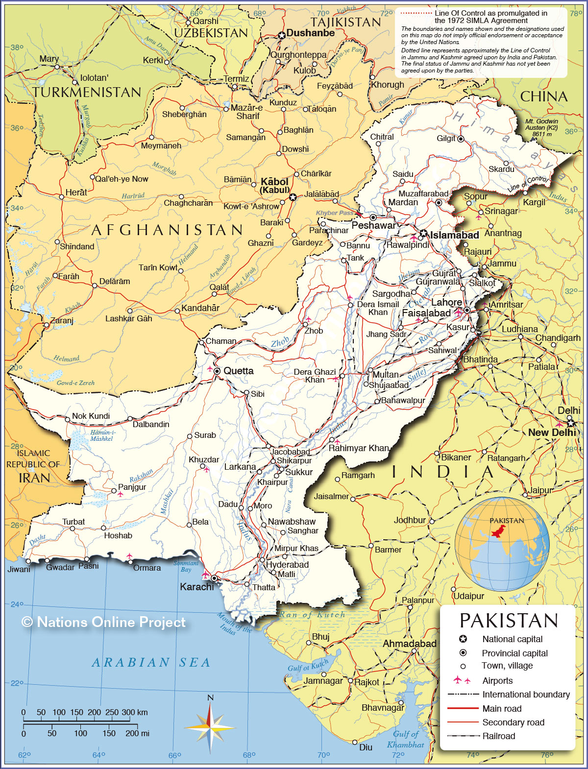 Political Map Of Pakistan Nations Online Project - World map pakistan