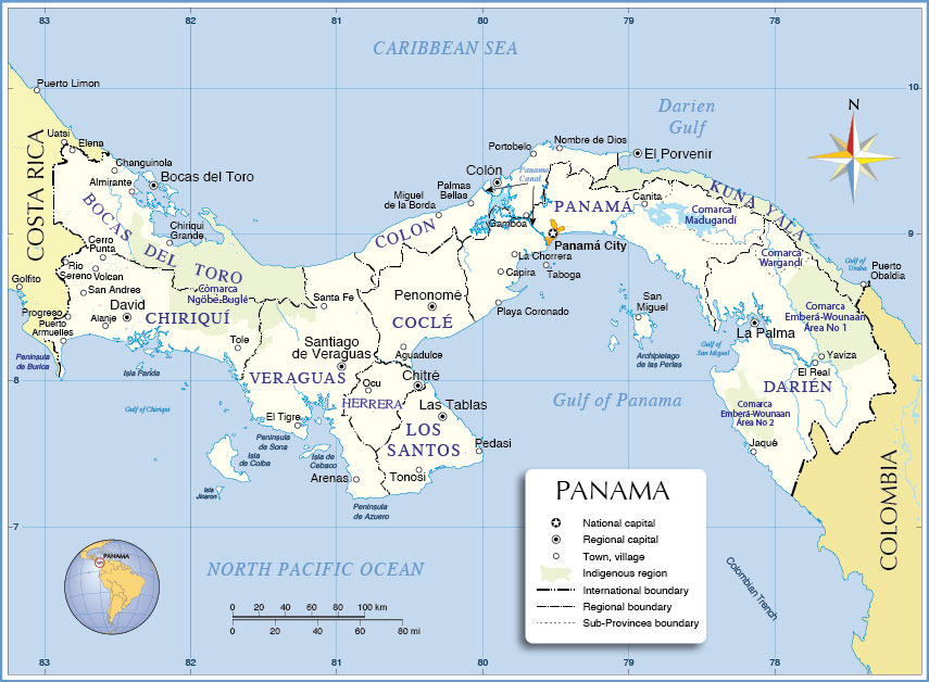 Administrative Map Of Panama Nations Online Project - Map panama