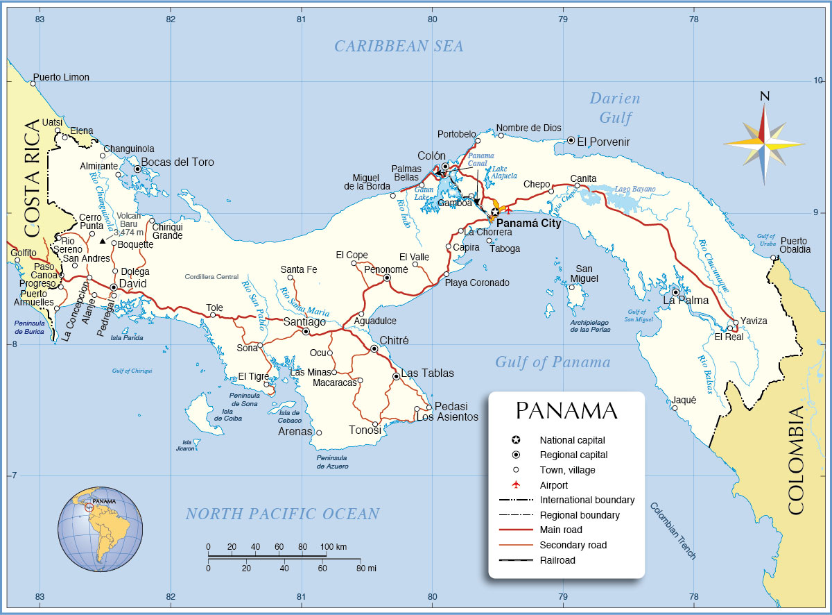 Political Map Of Panama Nations Online Project - Map panama